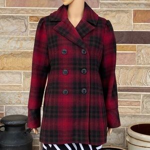 Steve Madden Red and Black Plaid Pea Coat